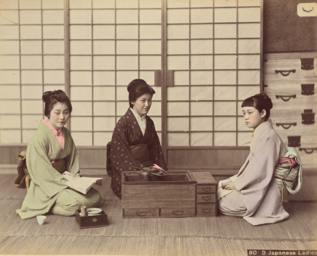 Japanese Ladies; Attributed to Kusakabe Kimbei (Japanese, 1841 - 1934); Japan; 1870s - 1890s; Hand-colored albumen silver print; 19.5 × 24.1 cm (7 11/16 × 9 1/2 in.); 84.XA.875.3.20; The J. Paul Getty Museum, Los Angeles; Rights Statement: No Copyright - United States