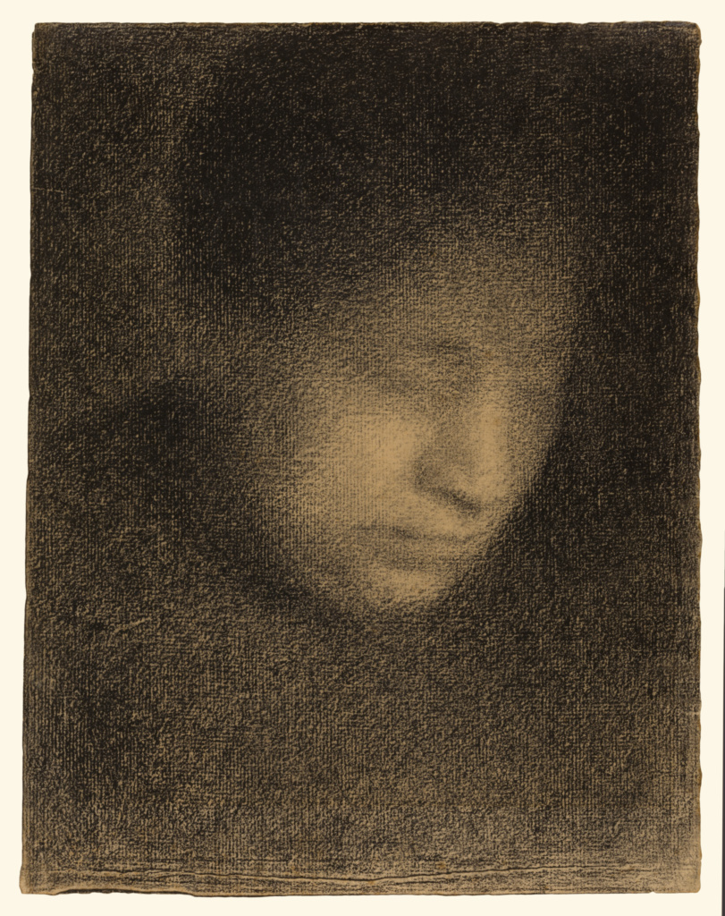 Madame Seurat, the Artist's Mother (Madame Seurat, mère); Georges Seurat (French, 1859 - 1891); about 1882–1883; Conté crayon on Michallet paper; 30.5 × 23.3 cm (12 × 9 3/16 in.); 2002.51; Rights Statement: No Copyright - United States