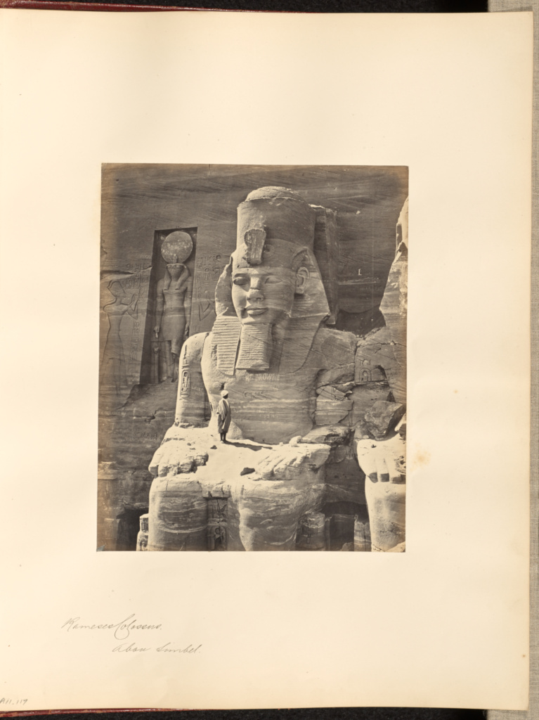 Rameses Colossus, Abou Simbel; Francis Frith (English, 1822 - 1898); Abu Simbel, Nubia, Egypt; about 1859; Albumen silver print; 20.6 × 16.4 cm (8 1/8 × 6 7/16 in.); 84.XO.1180.117; The J. Paul Getty Museum, Los Angeles; Rights Statement: No Copyright - United States