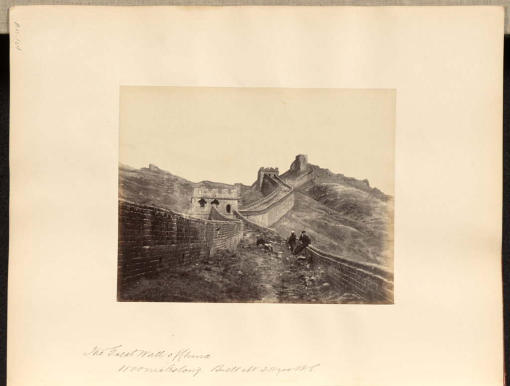 The Great Wall of China, 1500 miles long, built about 230 years B.C.; Francis Frith (English, 1822 - 1898); China; 1850–1865; Albumen silver print; 16.2 × 20.8 cm (6 3/8 × 8 3/16 in.); 84.XO.1180.164; The J. Paul Getty Museum, Los Angeles; Rights Statement: No Copyright - United States