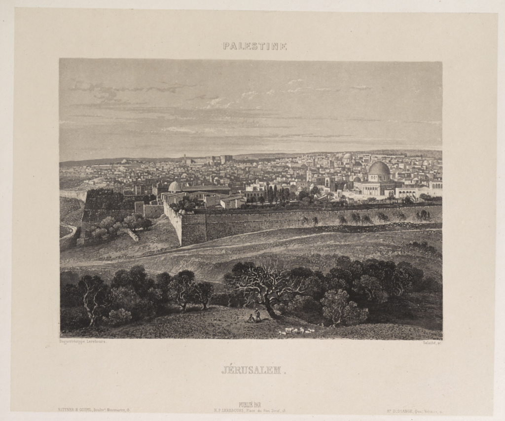 Palestine. Jérusalem; Nöel-Marie-Paymal Lerebours (French, 1807 - 1873), Attributed to Frédéric Goupil-Fesquet (French, 1817 - about 1878); Paris, France; 1842; Engraving with aquatint; 14.6 × 20.2 cm (5 3/4 × 7 15/16 in.); 84.XB.1187.57; The J. Paul Getty Museum, Los Angeles; Rights Statement: No Copyright - United States