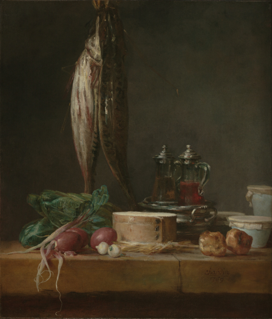 Still Life with Fish, Vegetables, Gougères, Pots, and Cruets on a Table; Jean-Siméon Chardin (French, 1699 - 1779); 1769; Oil on canvas; 68.6 × 58.4 cm (27 × 23 in.); 2003.13; The J. Paul Getty Museum, Los Angeles; Rights Statement: No Copyright - United States