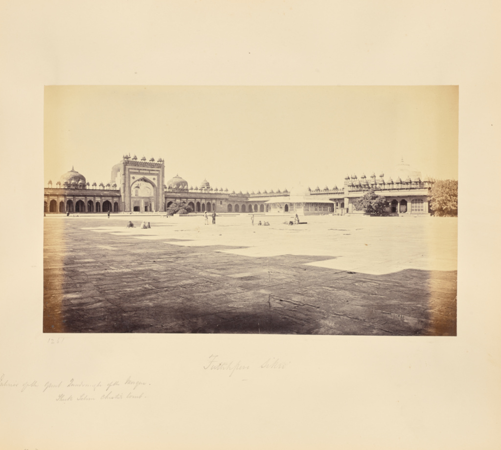 Futtypore Sikri; Interior of the Great Quadrangle, Showing Sheik Selim Chisti's Tomb; Samuel Bourne (English, 1834 - 1912); 1865–1866; Albumen silver print; 18.9 × 31.2 cm (7 7/16 × 12 5/16 in.); 84.XO.1228.125; Rights Statement: No Copyright - United States