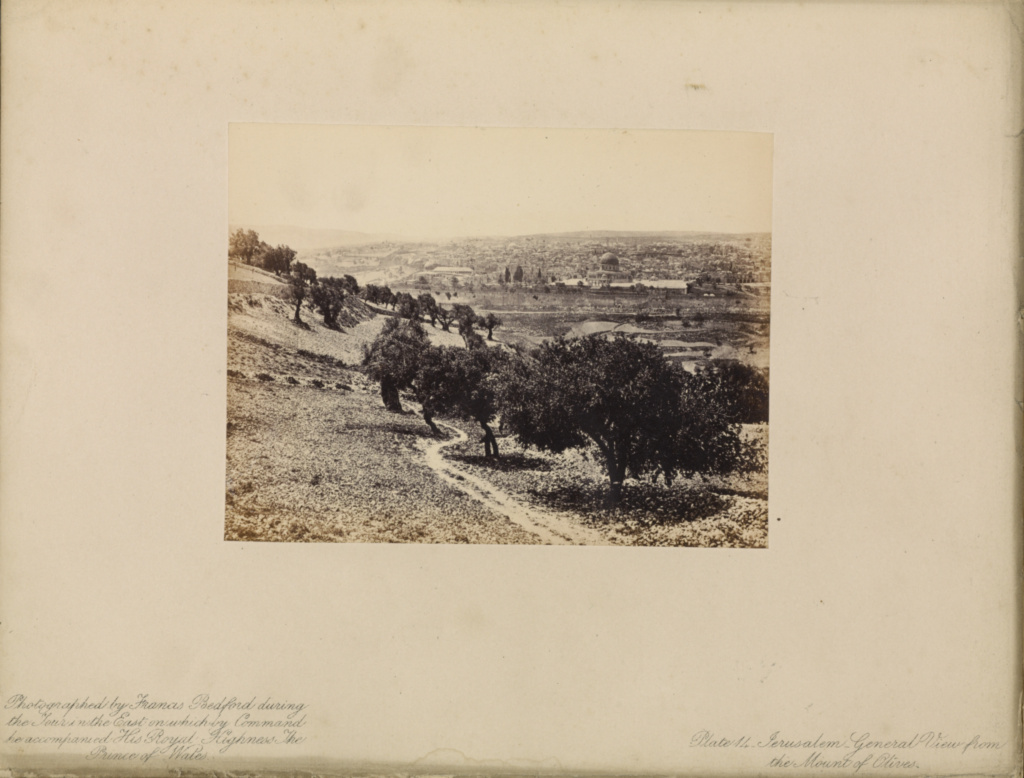 Jerusalem - General View from the Mount of Olives; Francis Bedford (English, 1815/1816 - 1894); London, England; April 6, 1862; Albumen silver print; 9.8 × 12.9 cm (3 7/8 × 5 1/16 in.); 84.XB.1272.14; The J. Paul Getty Museum, Los Angeles; Rights Statement: No Copyright - United States