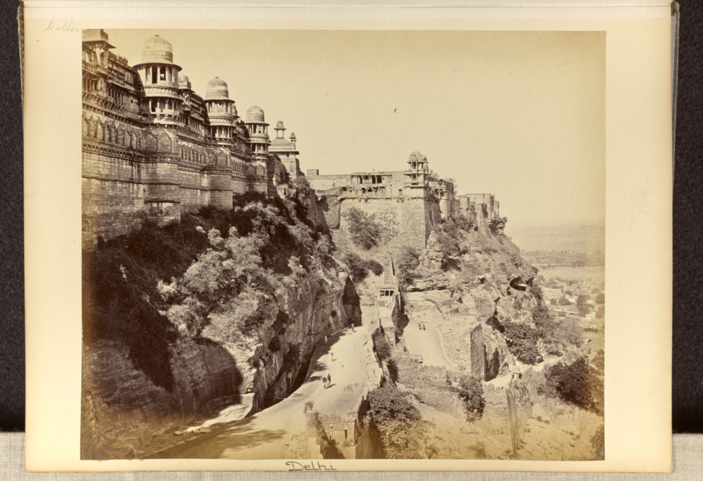 Gwalior; The Fort, the Palace and Principle Entrance; Samuel Bourne (English, 1834 - 1912); Gwalior, Madhya Pradesh, India; 1865–1866; Albumen silver print; 24 × 29.2 cm (9 7/16 × 11 1/2 in.); 84.XO.1356.31; The J. Paul Getty Museum, Los Angeles; Rights Statement: No Copyright - United States