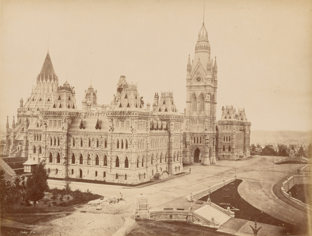Ottawa, Palais du parlement, batiment principal; Unknown; Ottawa, Canada; 1860s - 1880s; Albumen silver print; 17.1 × 22.5 cm (6 3/4 × 8 7/8 in.); 84.XA.1556.21; The J. Paul Getty Museum, Los Angeles; Rights Statement: No Copyright - United States