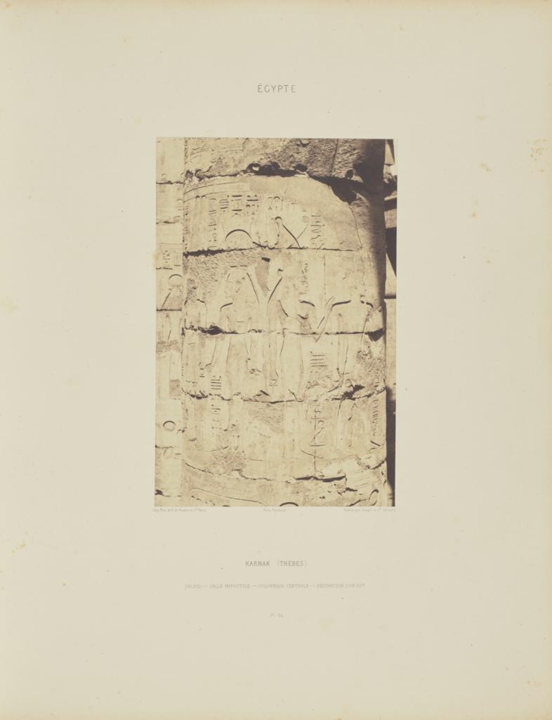 Karnak (Thèbes). Palais - Salle Hypostyle - Colonnade Centrale - Décoration d'un Fût; Félix Teynard (French, 1817 - 1892); negative 1851–1852; print 1853; Salted paper print; 24.7 × 16 cm (9 3/4 × 6 5/16 in.); 86.XB.693.1.54; Rights Statement: No Copyright - United States