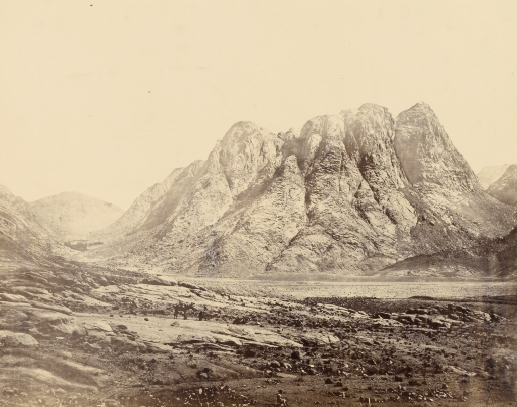 Mount Horeb, Sinai; Francis Frith (English, 1822 - 1898); Sinai; 1858; Albumen silver print; 36.4 × 46.5 cm (14 5/16 × 18 5/16 in.); 84.XO.434.20; The J. Paul Getty Museum, Los Angeles; Rights Statement: No Copyright - United States