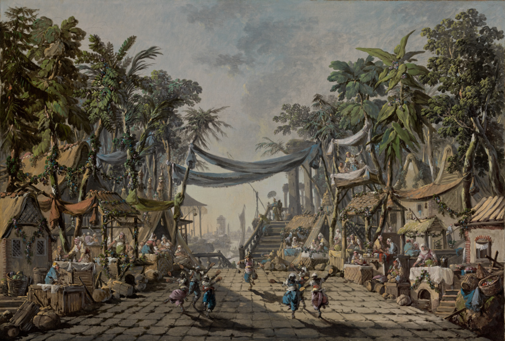 Market Scene in an Imaginary Oriental Port; Jean-Baptiste Pillement (French, 1728 - 1808); France; about 1764; Oil on canvas; 50.8 × 74.6 cm (20 × 29 3/8 in.); 2003.20; The J. Paul Getty Museum, Los Angeles; Rights Statement: No Copyright - United States