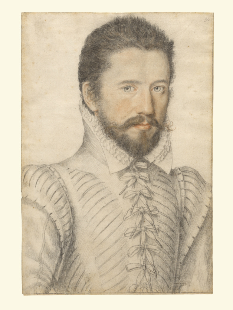 Portrait of a bearded man, half-length, wearing a slashed doublet; Attributed to Master of the Lécurieux Collection (French, active 1555 - 1581); about 1575; Black and red chalk; 33 × 22.2 cm (13 × 8 3/4 in.); 2003.10; Rights Statement: No Copyright - United States