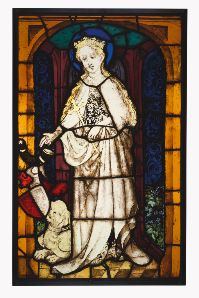 Saint Margaret; Unknown maker, German; Cologne (?), Germany; about 1420–1430; Pot-metal and colorless glass, vitreous paint, and silver stain; lead came; 71 × 43.5 × 1 cm (27 15/16 × 17 1/8 × 3/8 in.); 2003.36; The J. Paul Getty Museum, Los Angeles; Rights Statement: No Copyright - United States