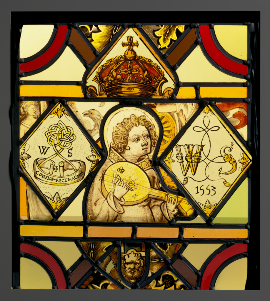 Ensemble with a Lute-Playing Angel; Unknown maker, English and Netherlandish; about 1450 and 1553; Colorless glass, vitreous paint, and silver stain; set within modern pieces of clear and colored glass; lead came; 33 × 27.9 × 1 cm (13 × 11 × 3/8 in.); 2003.44; Rights Statement: No Copyright - United States