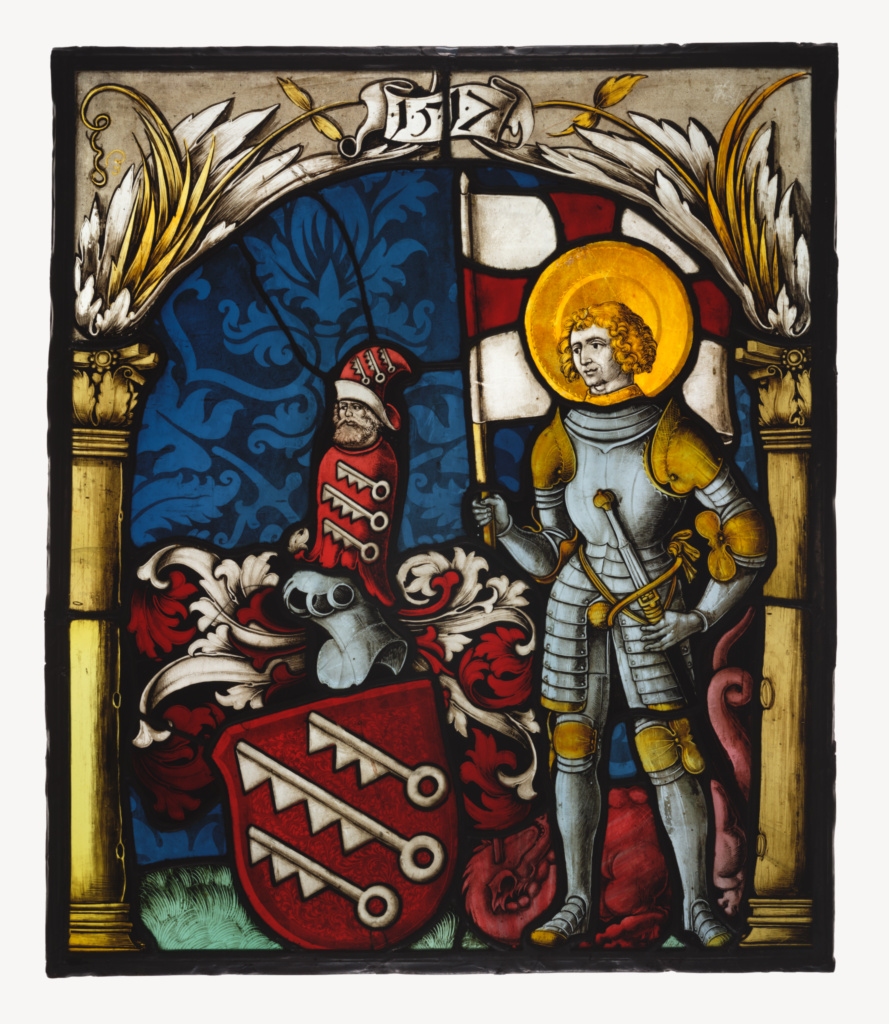 Saint George with the Arms of Speth; Unknown maker, German; Germany; 1517; Pot-metal, colorless, and flashed glass, vitreous paint, and silver stain; lead came; 54.3 × 46.4 × 1 cm (21 3/8 × 18 1/4 × 3/8 in.); 2003.64; The J. Paul Getty Museum, Los Angeles; Rights Statement: No Copyright - United States