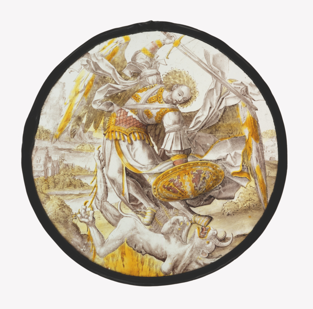 The Archangel Michael Vanquishing the Devil; Unknown maker, Netherlandish; Netherlands; about 1530; Colorless glass, vitreous paint, and silver stain; 26.9 × 1 cm (10 9/16 × 3/8 in.); 2003.73; The J. Paul Getty Museum, Los Angeles; Rights Statement: No Copyright - United States