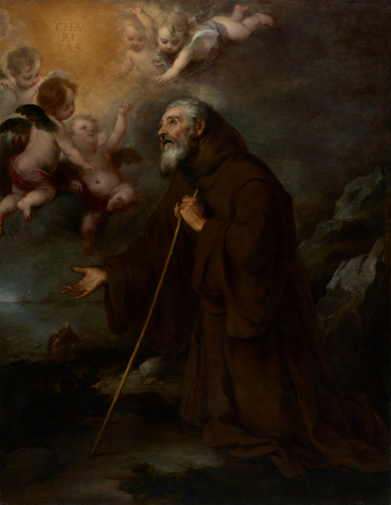 The Vision of Saint Francis of Paola; Bartolomé Esteban Murillo (Spanish, 1617 - 1682); about 1670; Oil on canvas; 188 × 146 cm (74 × 57 1/2 in.); 2003.144; The J. Paul Getty Museum, Los Angeles; Rights Statement: No Copyright - United States