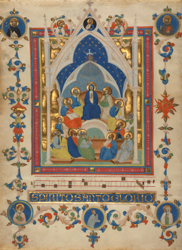 Pentecost; Master of the Dominican Effigies (Italian, active about 1325 - about 1355); Florence, Italy; about 1340; Tempera, gold leaf, and ink on parchment; Leaf: 43 × 31.7 cm (16 15/16 × 12 1/2 in.); Ms. 80 (2003.106), verso; The J. Paul Getty Museum, Los Angeles, Ms. 80, verso; Rights Statement: No Copyright - United States