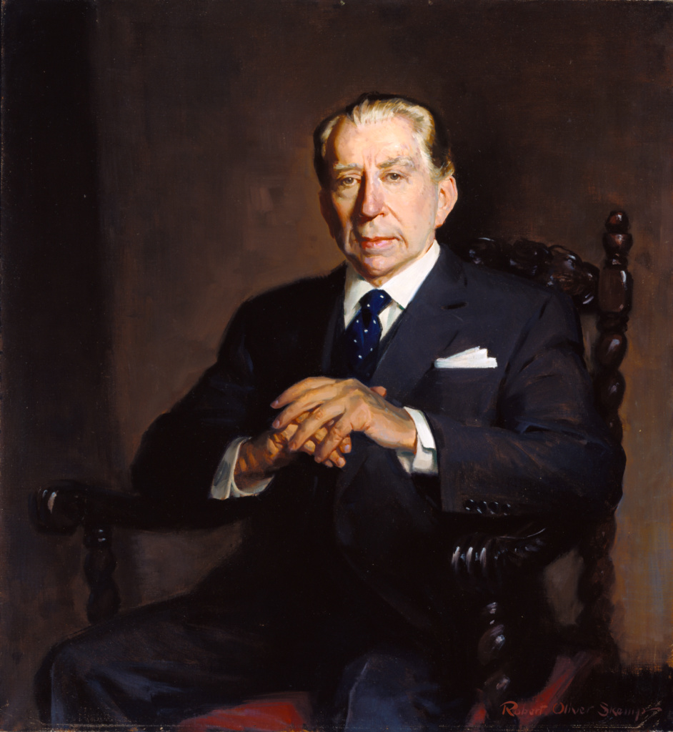 Portrait of J. Paul Getty; Robert Oliver Skemp (American, 1910 - 1984); about 1970; Oil on canvas; 90.5 × 82.9 cm (35 5/8 × 32 5/8 in.); 2003.96; The J. Paul Getty Museum, Los Angeles; Rights Statement: In Copyright; Copyright: © Estate of Robert Oliver Skemp. All rights reserved.