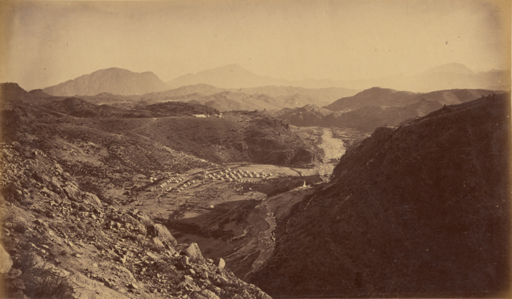 General View from Ali Musjid, looking back towards Peshawur, showing the whole of the Khyber and country operated over by the Troops; John Burke (Irish, about 1843 - 1900); Afghanistan; 1878 - 1879; Albumen silver print; 18.1 × 31.2 cm (7 1/8 × 12 5/16 in.); 84.XO.1277.15; The J. Paul Getty Museum, Los Angeles; Rights Statement: No Copyright - United States