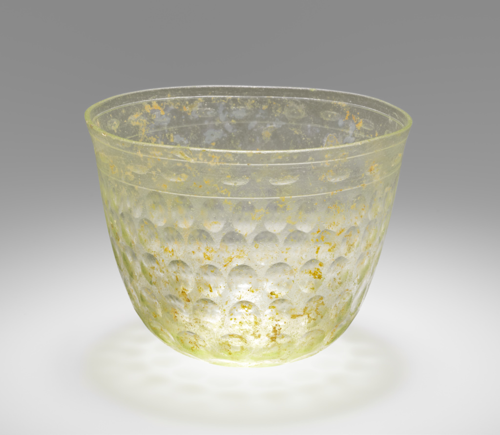 Cup; Unknown; Eastern Mediterranean; 3rd–4th century A.D.; Glass; 8.1 × 11.2 cm (3 3/16 × 4 7/16 in.); 2004.38; The J. Paul Getty Museum, Villa Collection, Malibu, California; Rights Statement: No Copyright - United States