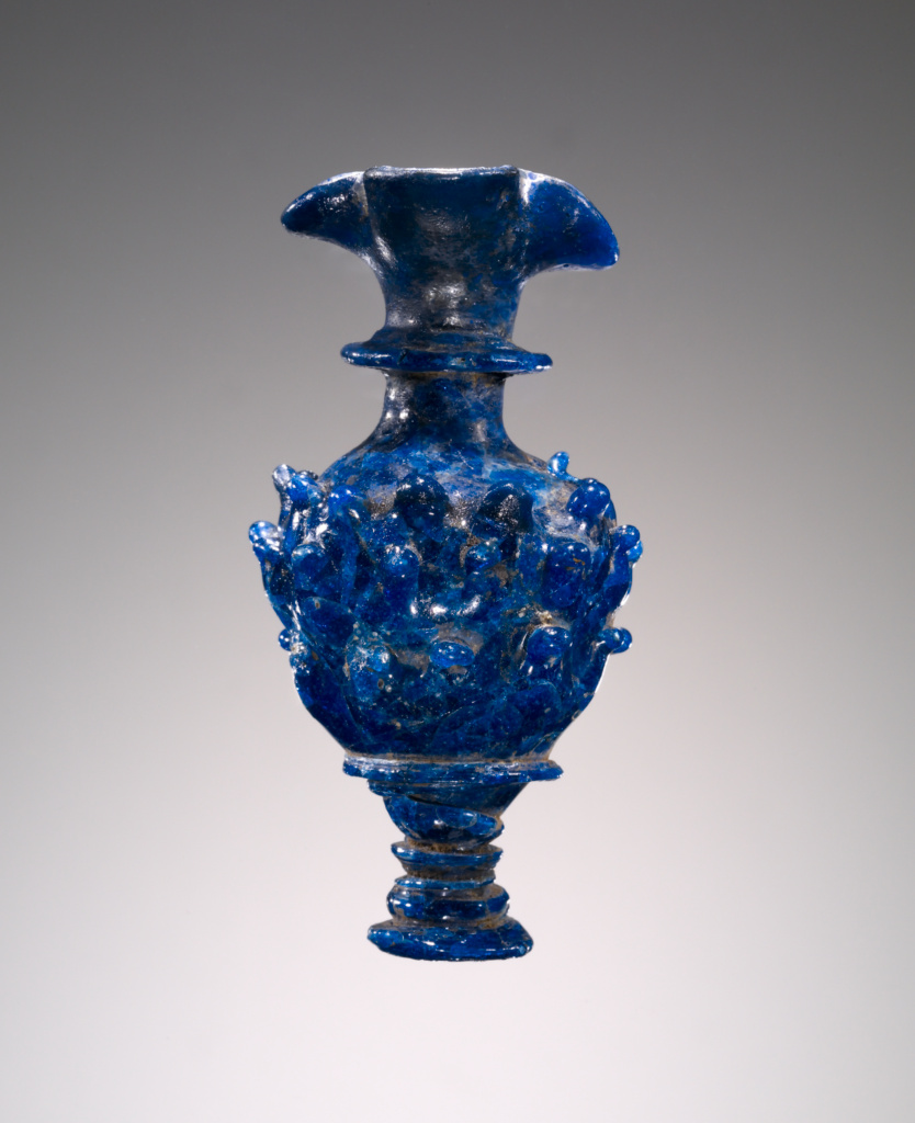 Blue Pitcher with Knobbed Decoration; Unknown; 700–600 B.C.; Glass; 8.8 × 4.4 × 4.2 cm (3 7/16 × 1 3/4 × 1 5/8 in.); 2003.164; Rights Statement: No Copyright - United States
