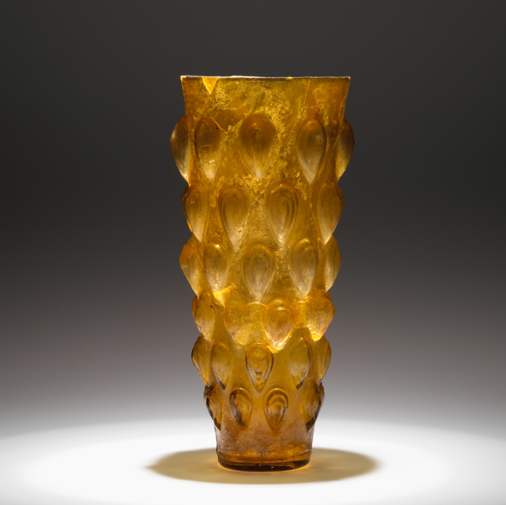 Beaker; Unknown; Eastern Mediterranean; 1st century A.D.; Glass; 21.2 cm (8 3/8 in.); 2003.320; The J. Paul Getty Museum, Villa Collection, Malibu, California; Rights Statement: No Copyright - United States