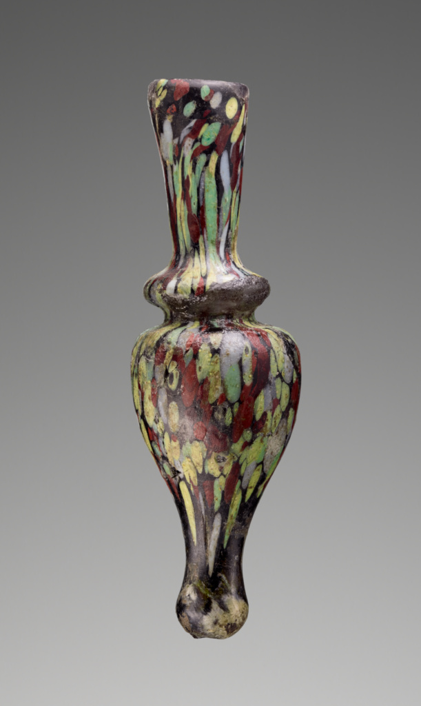 Opaque Mosaic Flask; Unknown; Eastern Mediterranean; 11th–12th century; Glass; 8.1 × 2.4 cm (3 3/16 × 15/16 in.); 2003.466; The J. Paul Getty Museum, Villa Collection, Malibu, California; Rights Statement: No Copyright - United States