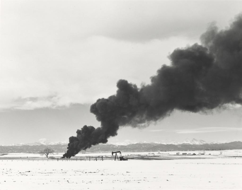 Burning Oil Sludge North of Denver, Colorado; Robert Adams (American, born 1937); 1973; Gelatin silver print; 15.2 × 19.4 cm (6 × 7 5/8 in.); 2003.117.1; Rights Statement: In Copyright; Copyright: © Robert Adams