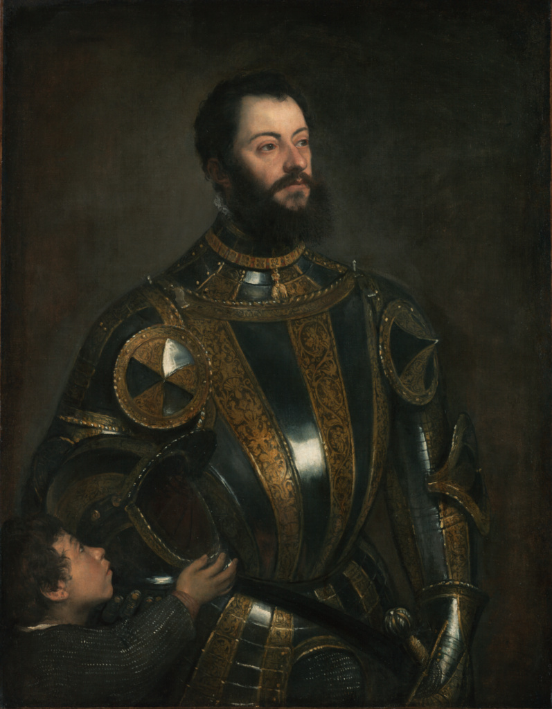 Portrait of Alfonso d'Avalos, Marchese del Vasto, in Armor with a Page; Titian (Tiziano Vecellio) (Italian, about 1487 - 1576); probably January–February 1533; Oil on canvas; 110 × 80 cm (43 5/16 × 31 1/2 in.); 2003.486; Rights Statement: No Copyright - United States