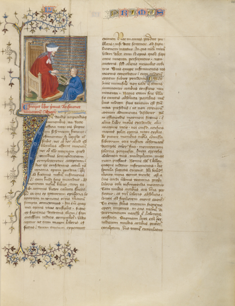 Boethius Instructs a Young Boy in Arithmetic; Virgil Master (French, active about 1380 - 1420); about 1405; Tempera colors, gold paint, gold leaf, and ink on parchment; Leaf: 39 × 30.5 cm (15 3/8 × 12 in.); Ms. 72 (2003.25), fol. 26; Rights Statement: No Copyright - United States