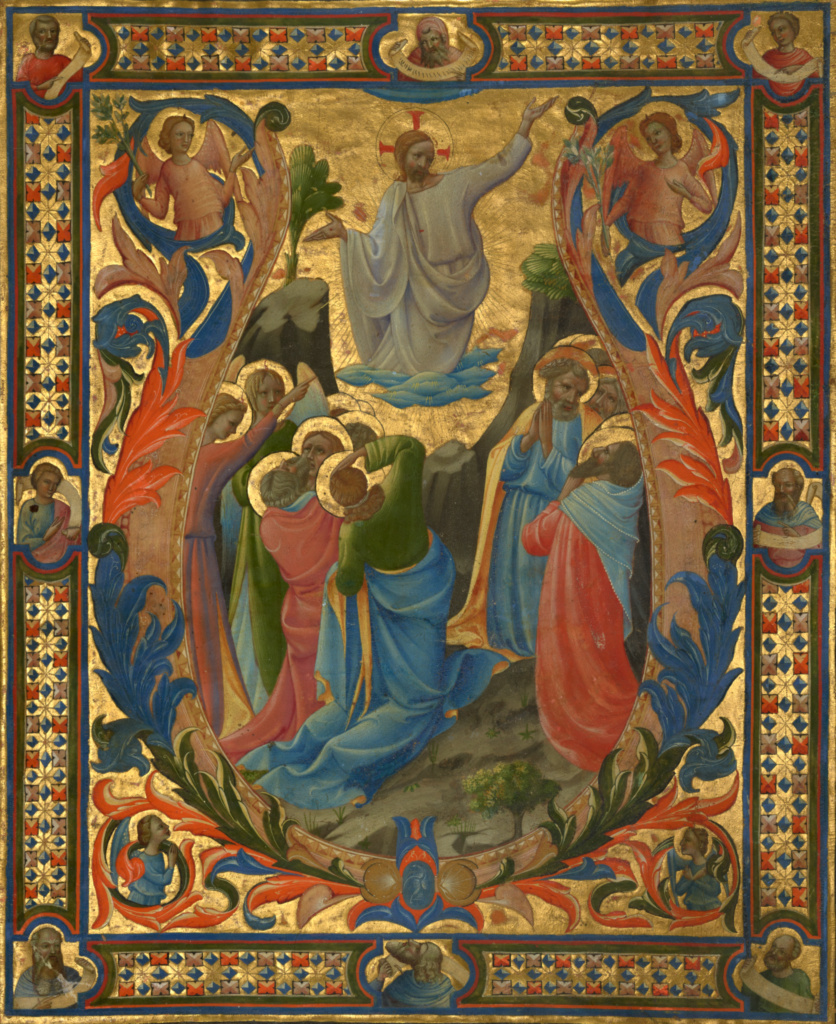 Initial V:  The Ascension; Designed by Lorenzo Monaco (Italian, about 1370 - 1423 or 1424), and completed by Zanobi di Benedetto Strozzi (Italian, 1412 - 1468), and Battista di Biagio Sanguini (Italian, 1393 - 1451); designed about 1410; completed about 1431; Tempera and gold on parchment; Leaf: 40.2 × 32.7 cm (15 13/16 × 12 7/8 in.); Ms. 78 (2003.104), recto; Rights Statement: No Copyright - United States