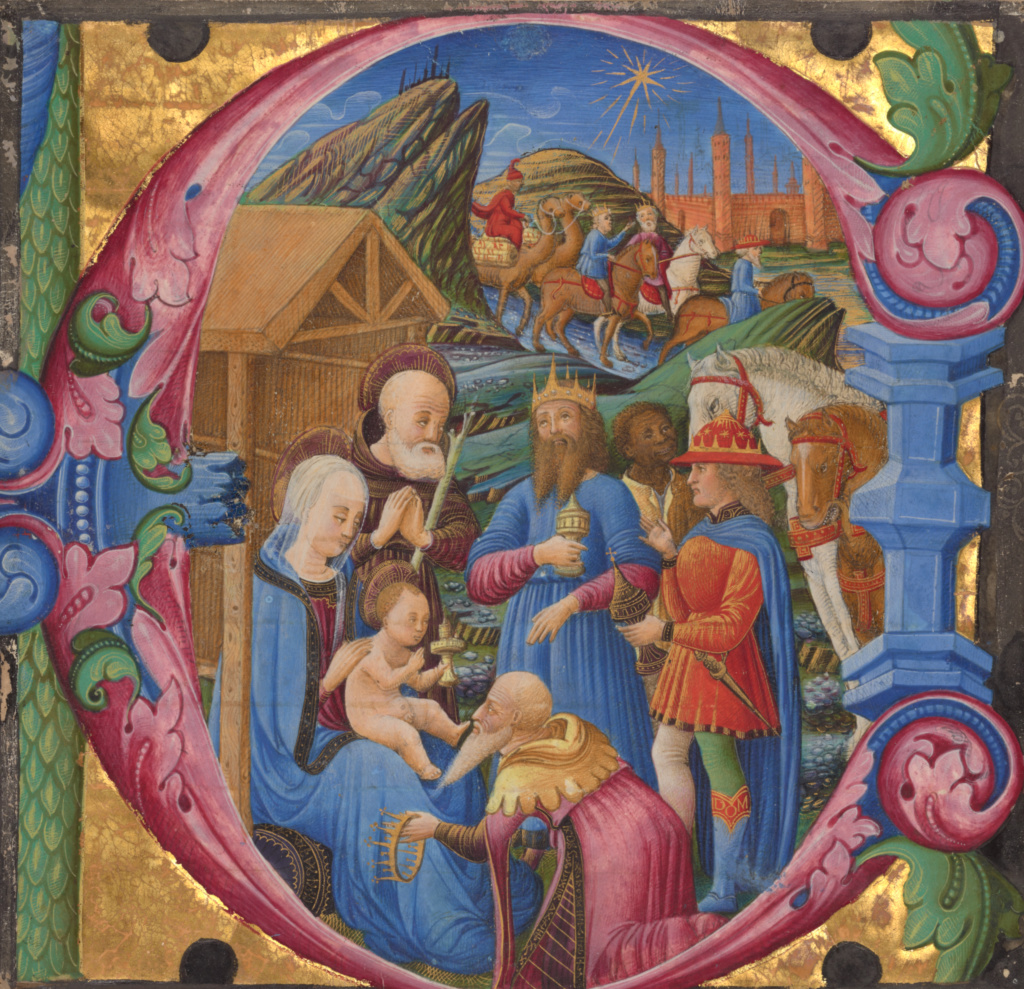 Cutting from a choir book; Franco dei Russi (Italian, active about 1453 - 1482); Veneto, Italy; 1470s; Tempera and gold; Leaf: 15 × 15.7 cm (5 7/8 × 6 3/16 in.); Ms. 83 (2003.114); The J. Paul Getty Museum, Los Angeles, Ms. 83; Rights Statement: No Copyright - United States