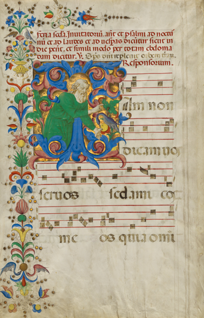 Initial I: God the Father Blessing; Francesco di Antonio del Chierico (Italian, 1433 - 1484); Florence, Italy; early 1460s; Tempera and gold; Leaf: 57.7 × 40 cm (22 11/16 × 15 3/4 in.); Ms. 84 (2003.115), leaf 2v; The J. Paul Getty Museum, Los Angeles, Ms. 84, leaf 2v; Rights Statement: No Copyright - United States