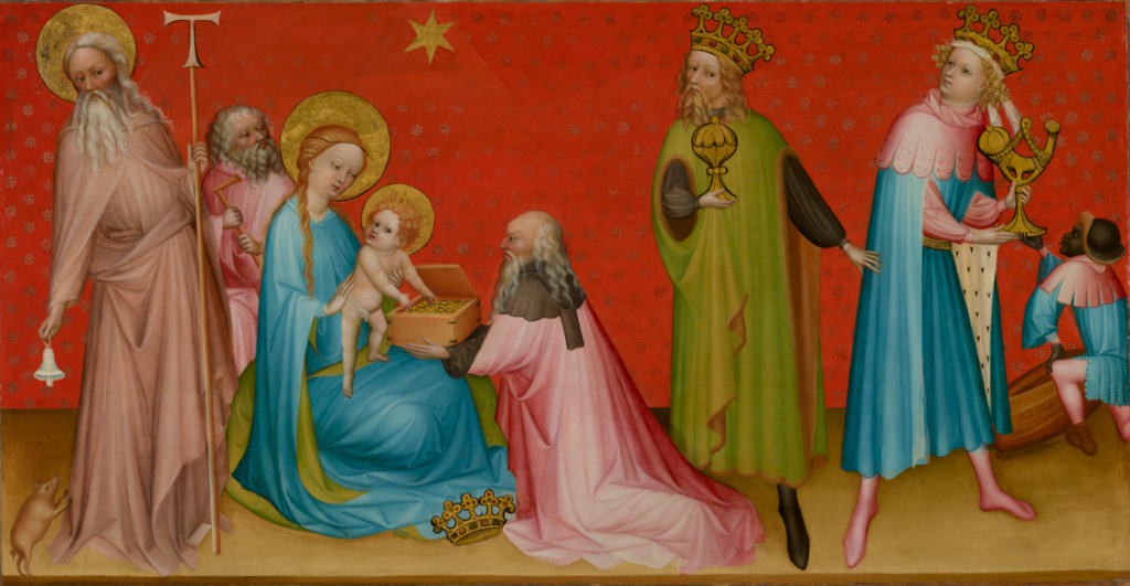 The Adoration of the Magi with Saint Anthony Abbot; Franco-Flemish Master (French or Flemish, active Burgundy, France about 1400); about 1410–1420; Oil and tempera with gold and silver leaf on panel; Panel: 104.8 × 188.6 × 4.4 cm (41 1/4 × 74 1/4 × 1 3/4 in.); 2004.68; Rights Statement: No Copyright - United States