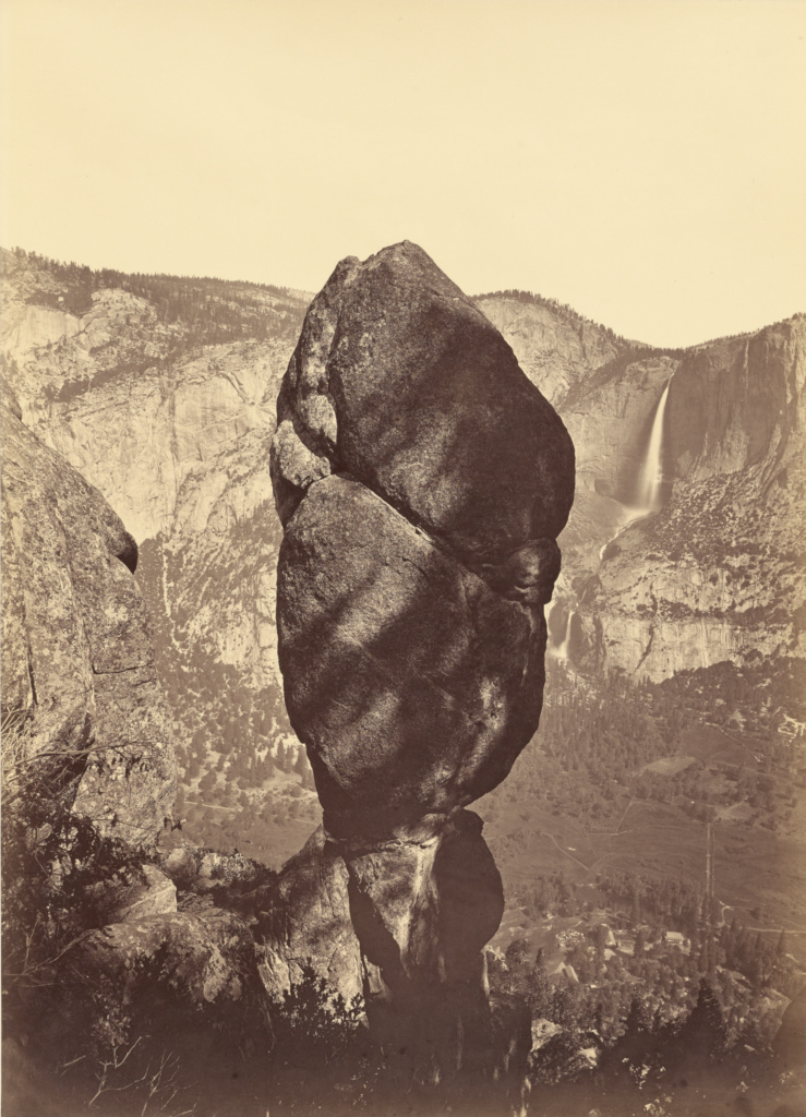 Agassiz Rock and the Yosemite Falls, from Union Point; Carleton Watkins (American, 1829 - 1916); about 1878; Albumen silver print; 54.4 × 39.2 cm (21 7/16 × 15 7/16 in.); 2004.70; The J. Paul Getty Museum, Los Angeles; Rights Statement: No Copyright - United States