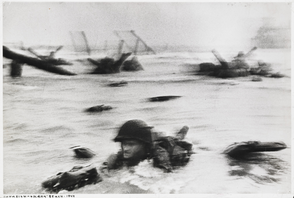 Omaha Beach, Normandy, France; Robert Capa (American, born Hungary, 1913 - 1954); Normandy, France; negative June 6, 1944; print about 1964; Gelatin silver print; 22.8 × 34.1 cm (9 × 13 7/16 in.); 2004.156.2; The J. Paul Getty Museum, Los Angeles; Rights Statement: In Copyright; Copyright: © International Center of Photography / Magnum Photos