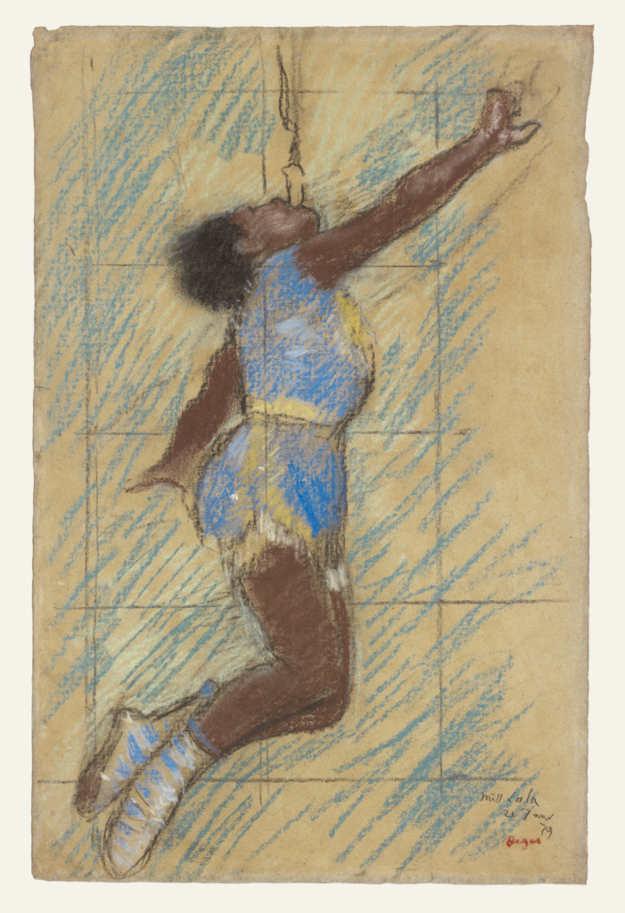 Miss Lala at the Fernando Circus; Edgar Degas (French, 1834 - 1917); 1879; Pastel on faded blue paper; 46.4 × 29.8 cm (18 1/4 × 11 3/4 in.); 2004.93; The J. Paul Getty Museum, Los Angeles; Rights Statement: No Copyright - United States