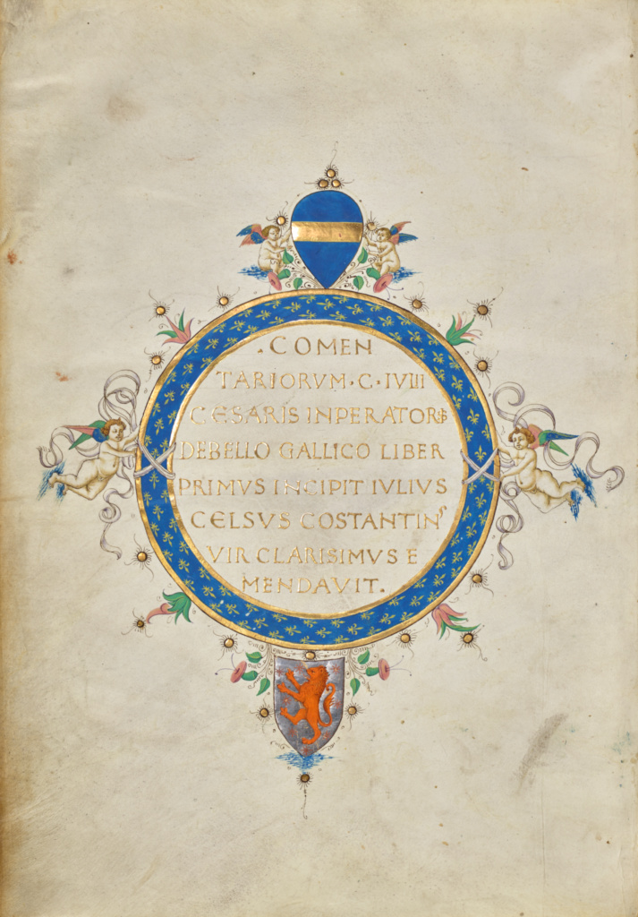 Decorated Text Page; Unknown; Florence, Tuscany, Italy; about 1460–1470; Tempera colors, gold leaf, gold paint, and ink; Leaf: 32.7 × 23 cm (12 7/8 × 9 1/16 in.); Ms. Ludwig XIII 8 (83.MP.151), fol. 1v; The J. Paul Getty Museum, Los Angeles, Ms. Ludwig XIII 8, fol. 1v; Rights Statement: No Copyright - United States
