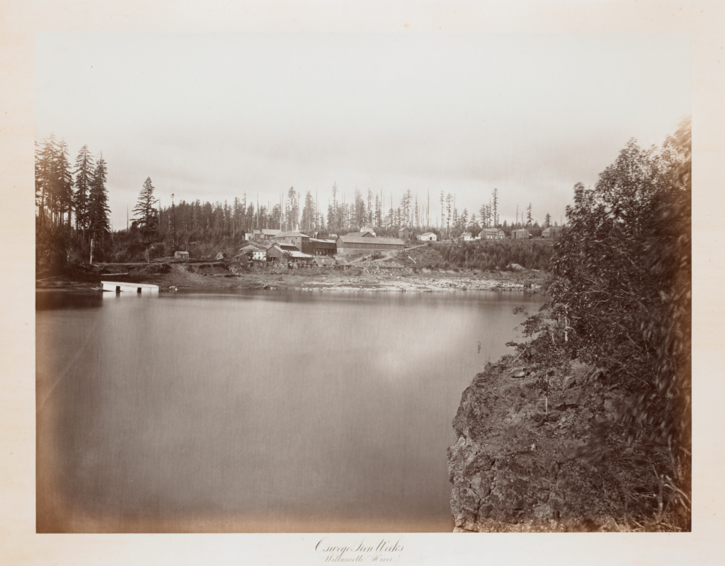 Oswego Iron Works, Willamette River; Carleton Watkins (American, 1829 - 1916); Oregon, United States; 1867; Albumen silver print; 40.2 × 52.7 cm (15 13/16 × 20 3/4 in.); 2004.150; The J. Paul Getty Museum, Los Angeles; Rights Statement: No Copyright - United States
