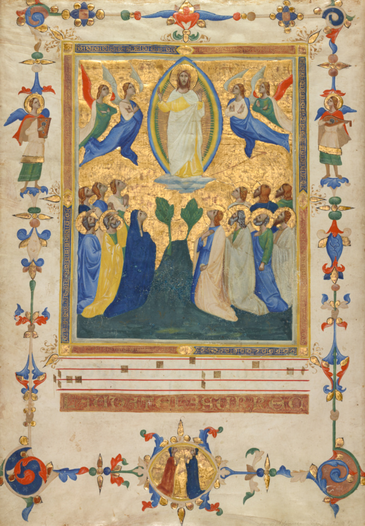 The Ascension of Christ; Pacino di Bonaguida (Italian (Florentine), active about 1303 - about 1347); Florence, Italy; about 1340; Tempera, gold leaf, and ink on parchment; Leaf: 44.4 × 31.8 cm (17 1/2 × 12 1/2 in.); Ms. 80a (2005.26), verso; The J. Paul Getty Museum, Los Angeles, Ms. 80a, verso; Rights Statement: No Copyright - United States