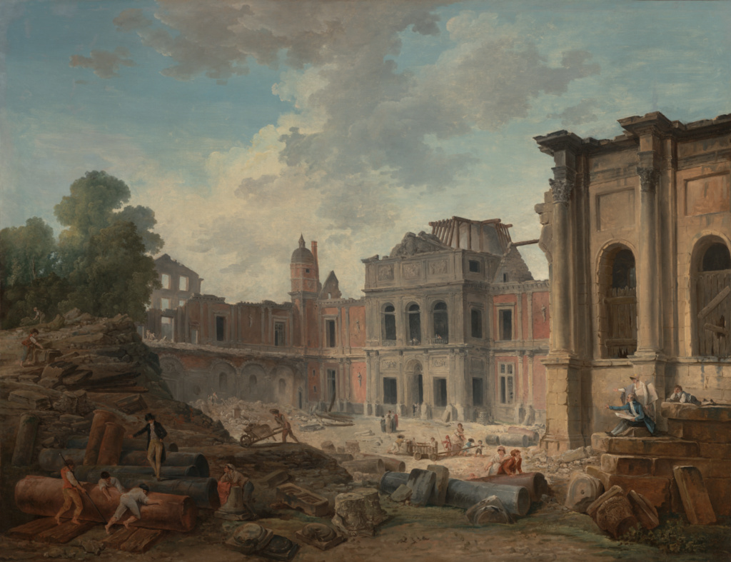 Demolition of the Château of Meudon; Hubert Robert (French, 1733 - 1808); France; 1806; Oil on canvas; 113.3 × 146 cm (44 5/8 × 57 1/2 in.); 2007.4; The J. Paul Getty Museum, Los Angeles, Purchased in part with funds realized from the sale of paintings donated by Peter and Iselin Moller, Dr. Walter S. Udin, and Howard Young; Rights Statement: No Copyright - United States
