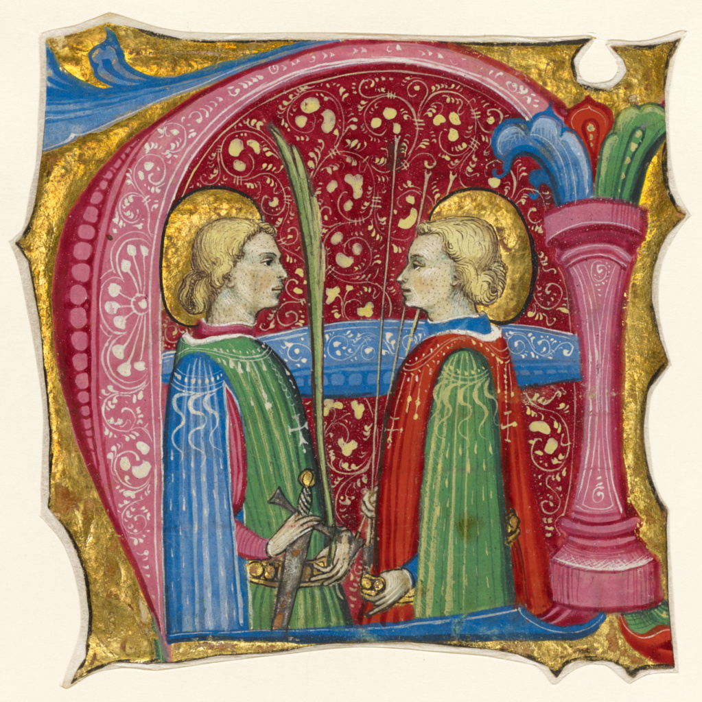 Initial A: Saints Maurice and Theofredus; Frate Nebridio (Italian, died before 1503, active second half of the 15th century); Cremona, Italy; about 1460 - 1480; Tempera and gold leaf on parchment; Leaf: 11.5 × 11.5 cm (4 1/2 × 4 1/2 in.); Ms. 91 (2005.21), recto; The J. Paul Getty Museum, Los Angeles, Ms. 91, recto; Rights Statement: No Copyright - United States