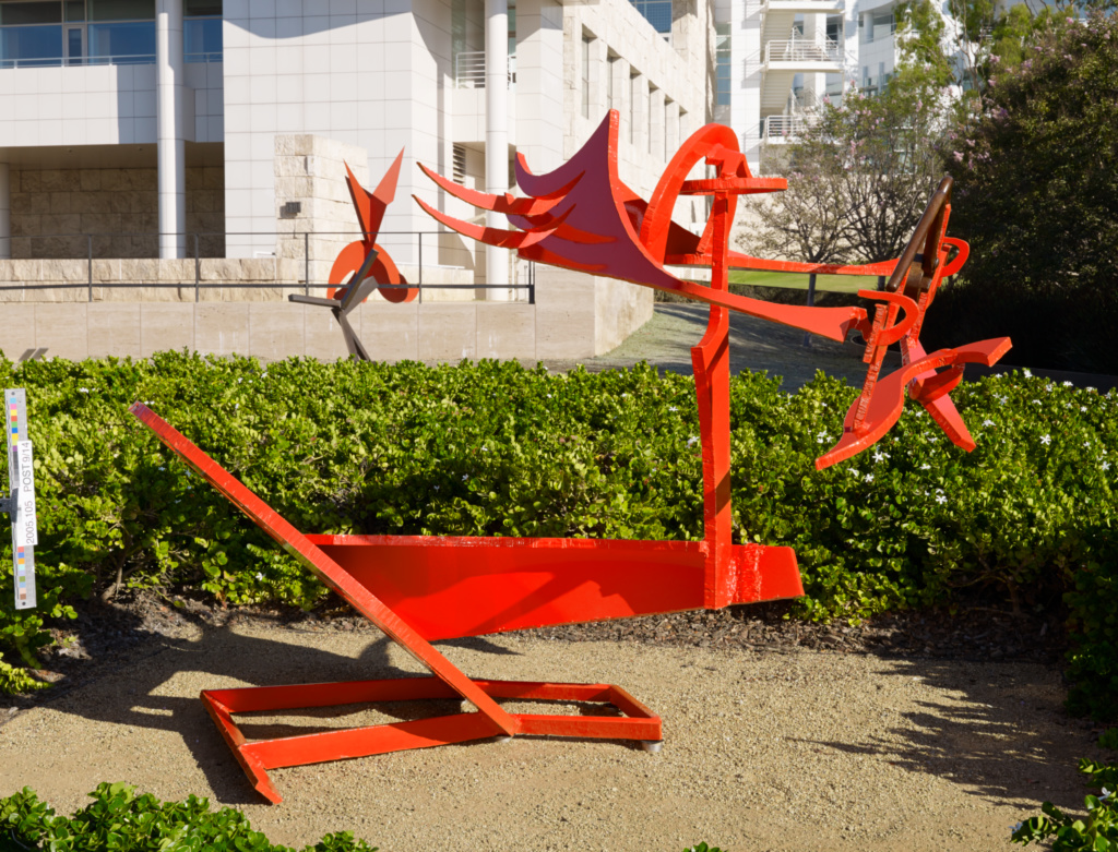 Gandydancer's Dream; Mark di Suvero (American, born China, 1933); 1987–1988; Painted steel; 170.2 × 226.1 × 132.1 cm, 529.3477 kg (67 × 89 × 52 in., 1167 lb.); 2005.105; Gift of Fran and Ray Stark; Rights Statement: In Copyright; Copyright: Courtesy of Mark di Suvero and Spacetime C.C.