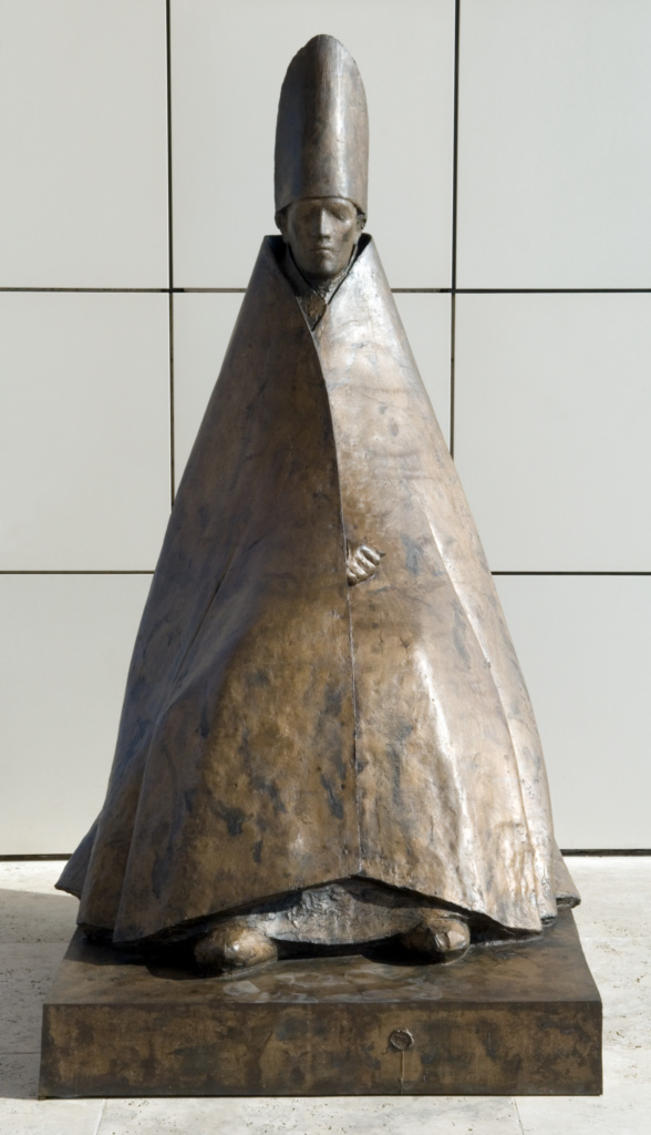 Cardinale Seduto; Giacomo Manzù (Italian, 1908 - 1991); 1975–1977; Bronze; 215.9 × 116.2 × 135.9 cm, 308.446 kg (85 × 45 3/4 × 53 1/2 in., 680 lb.); 2005.114; Gift of Fran and Ray Stark; Rights Statement: In Copyright; Copyright: © Inge Manzù
