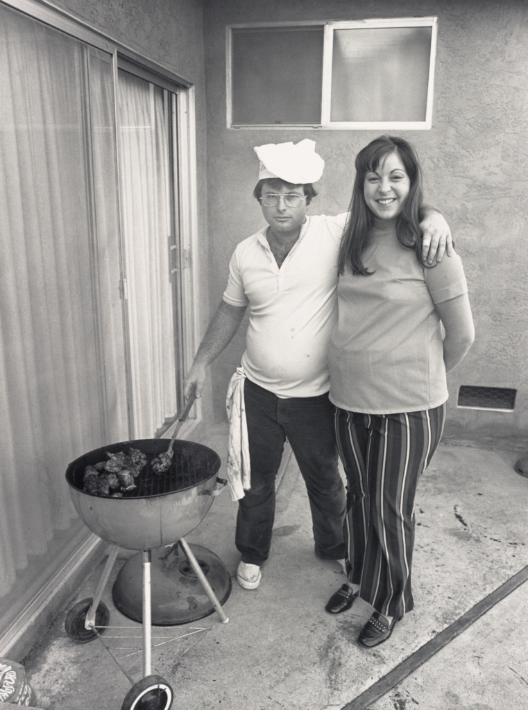 [Sunday Afternoon We Get It Together. I Cook the Steaks and My Wife Makes the Salad.]; Bill Owens (American, born 1938); California, United States; 1971; Gelatin silver print; 30.6 × 22.9 cm (12 1/16 × 9 in.); 2005.36.1; The J. Paul Getty Museum, Los Angeles, Purchased in part with funds provided by the Photographs Council; Rights Statement: In Copyright; Copyright: © Bill Owens