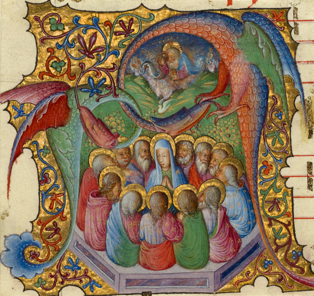 Initial A: Pentecost; Attributed to Stefano da Verona (Italian (Lombard), 1374 - after 1438); Lombardy, Italy; about 1430–1435; Tempera and gold on parchment; Leaf: 11.9 × 12.5 cm (4 11/16 × 4 15/16 in.); Ms. 95 (2005.28), recto; The J. Paul Getty Museum, Los Angeles, Ms. 95, recto; Rights Statement: No Copyright - United States