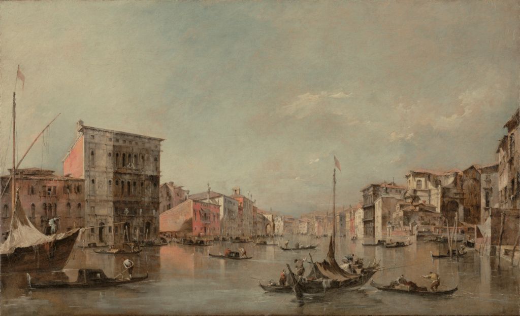 The Grand Canal in Venice with Palazzo Bembo; Francesco Guardi (Italian, 1712 - 1793); about 1768; Oil on canvas; 47 × 76.5 cm (18 1/2 × 30 1/8 in.); 2005.41; Rights Statement: No Copyright - United States