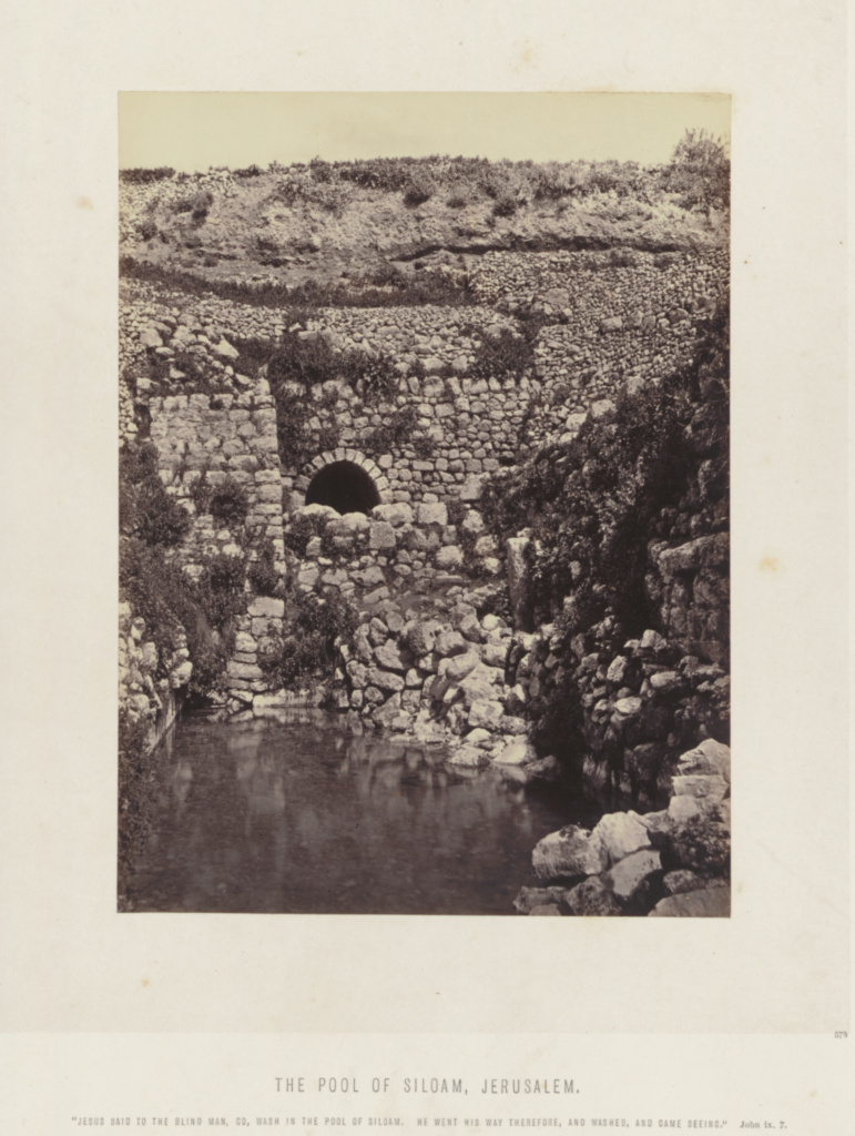 Pool of Siloam, Jerusalem; Frank Mason Good (English, 1839 - 1928), Possibly Francis Frith (English, 1822 - 1898); Jerusalem, Israel; 1860s; Albumen silver print; 20.8 × 15.4 cm (8 3/16 × 6 1/16 in.); 2005.71.1; The J. Paul Getty Museum, Los Angeles, Gift of Sharon and Michael Blasgen; Rights Statement: No Copyright - United States