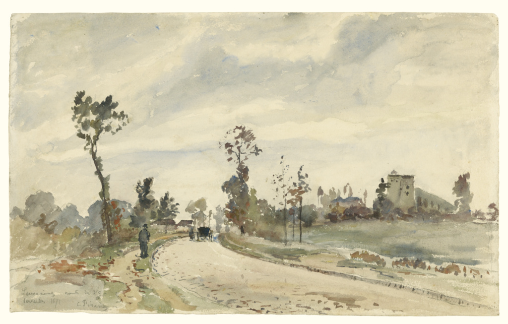 Louveciennes, Route de Saint-Germain; Camille Pissarro (French, 1830 - 1903); France; 1871; Watercolor over black chalk; 30.2 × 49.2 cm (11 7/8 × 19 3/8 in.); 2007.1; The J. Paul Getty Museum, Los Angeles; Rights Statement: No Copyright - United States