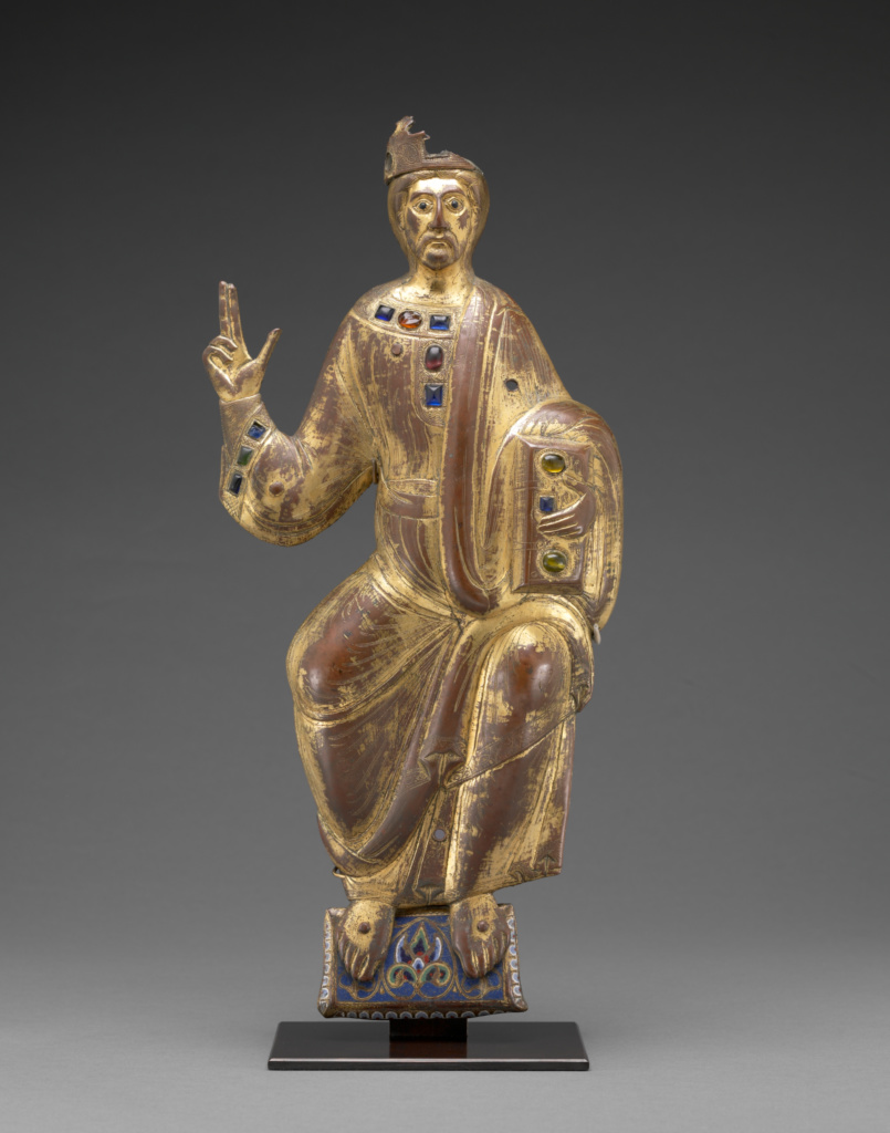 Christ in Majesty; Unknown maker, Limoges School; France; probably 1188; Engraved and gilt copper, champleve enamel, and colored glass; 45.4 cm (17 7/8 in.); 2007.6; The J. Paul Getty Museum, Los Angeles; Rights Statement: No Copyright - United States