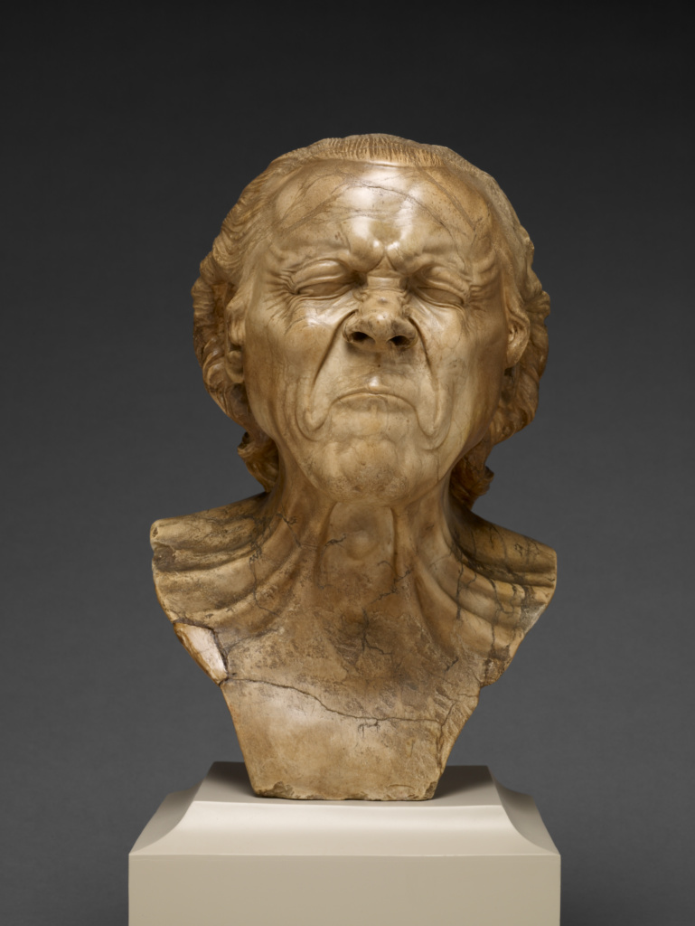The Vexed Man; Franz Xaver Messerschmidt (German, 1736 - 1783); Austria; 1771–1783; Alabaster; 39.4 × 27.3 × 26 cm (15 1/2 × 10 3/4 × 10 1/4 in.); 2008.4; The J. Paul Getty Museum, Los Angeles; Rights Statement: No Copyright - United States